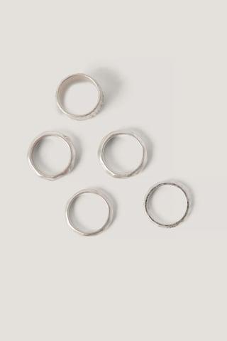 Silver Flerpakning Med Hamrede Ringer