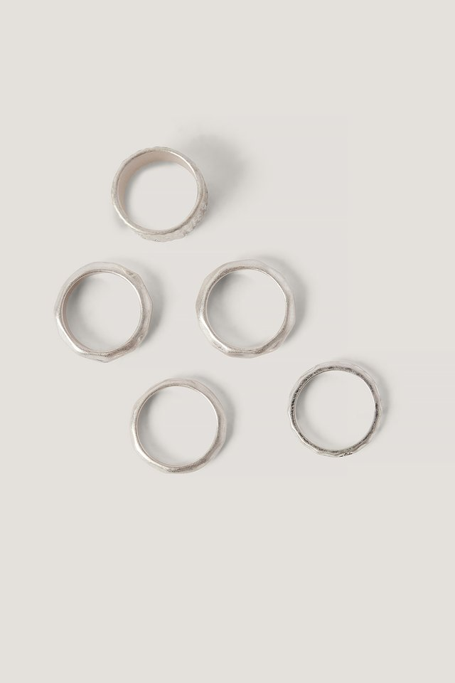 Multipack Hammered Rings Silver