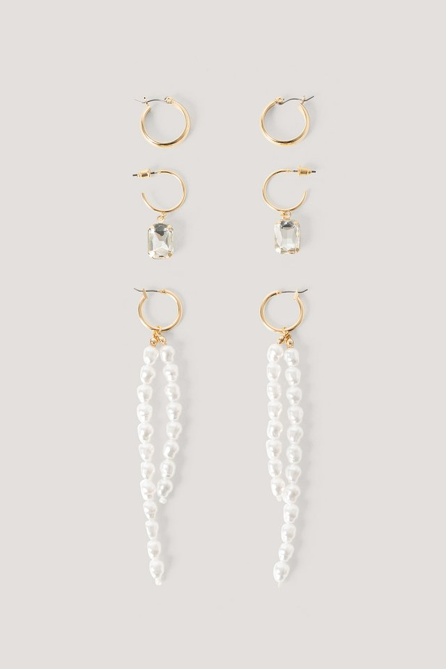 Multipack Long Pearl Drop Earrings Gold/White