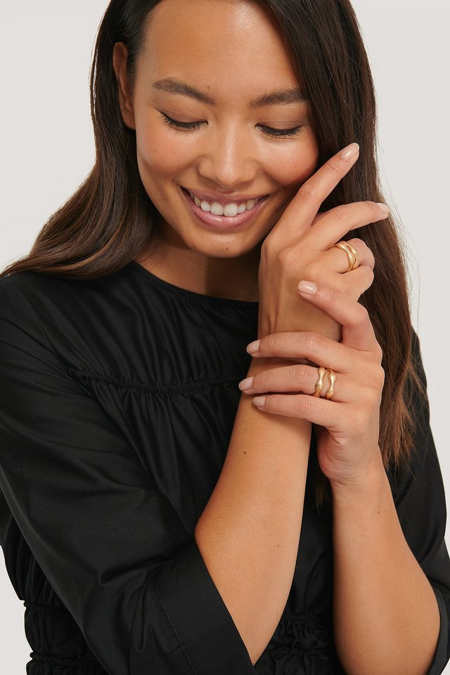 Multipack Uneven Matte Rings Gold