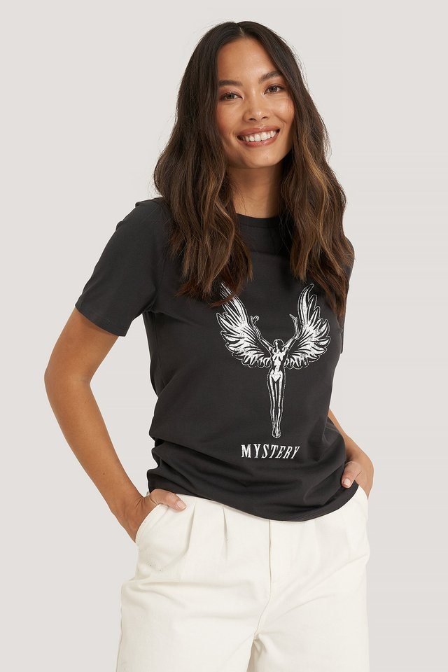 Camiseta Con Estampado Mystery Angel Off Black