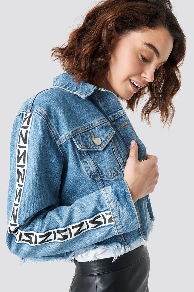 N Branded Denim Jacket Mid Blue