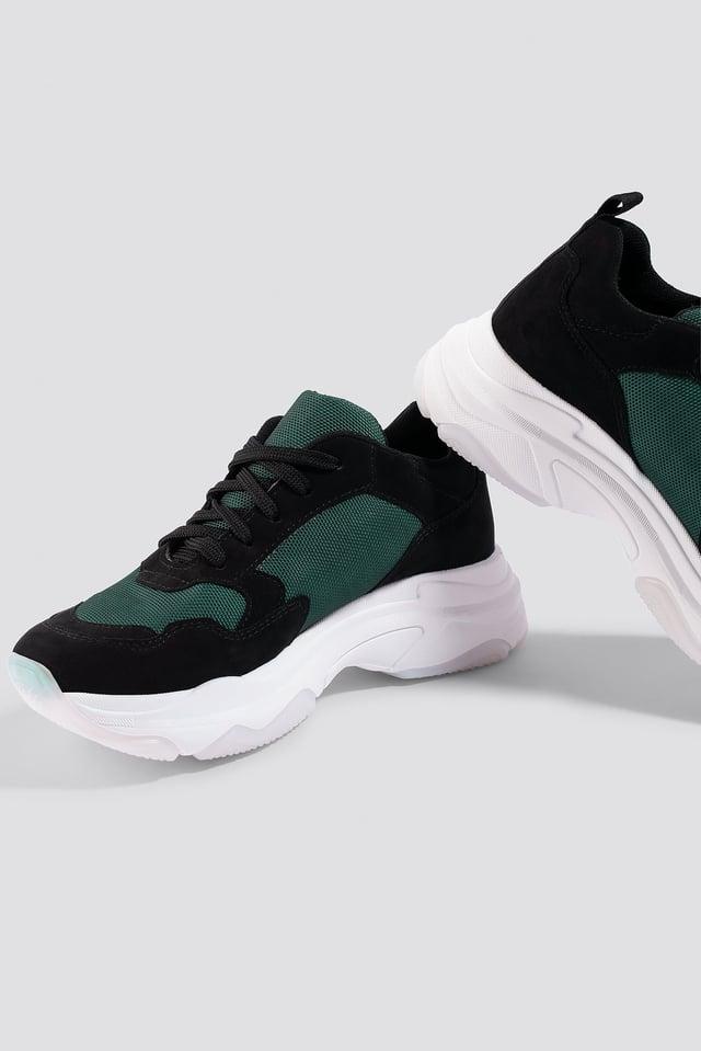 NA-KD Chunky Trainers Black/Green