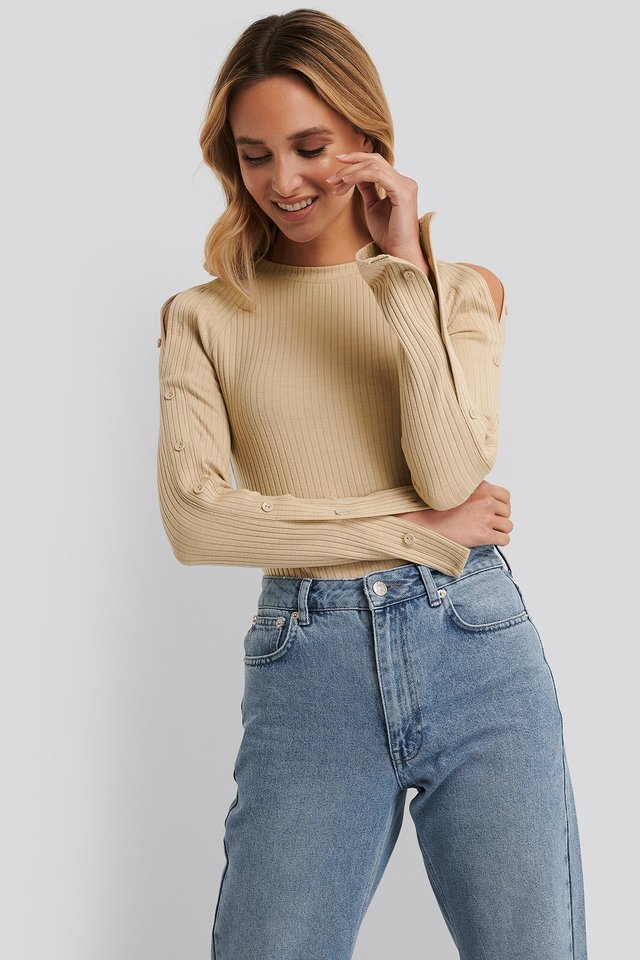 Buttoned Sleeve Ribbed Top Beige
