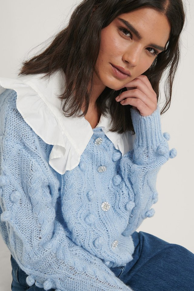 Glitter Button Cable Knit Cardigan Blue