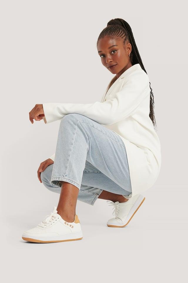 White NA-KD Logo Sneakers