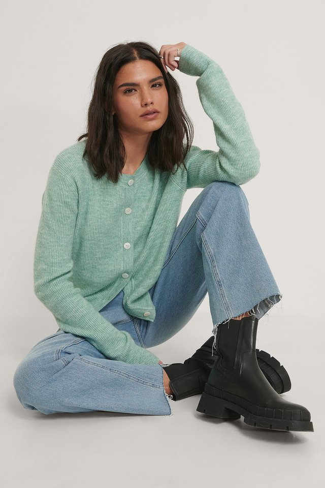Resin Button Knitted Cardigan Green