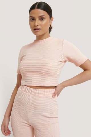 Pink Ribbed Cropped Tee