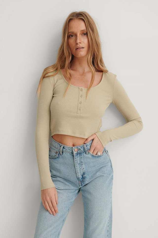 Light Beige Ribbed Henley Crop Top