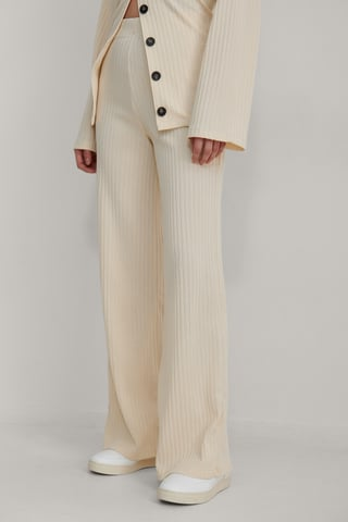 Beige Recycled Straight Ribbed Pants