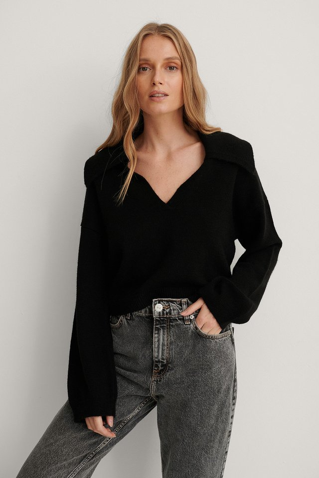 Wide Sleeve Collar Detail Knitted Sweater Black