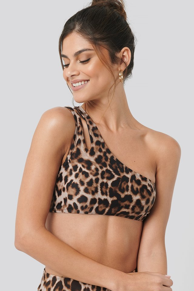 One Shoulder Cut Out Bikini Top Leo