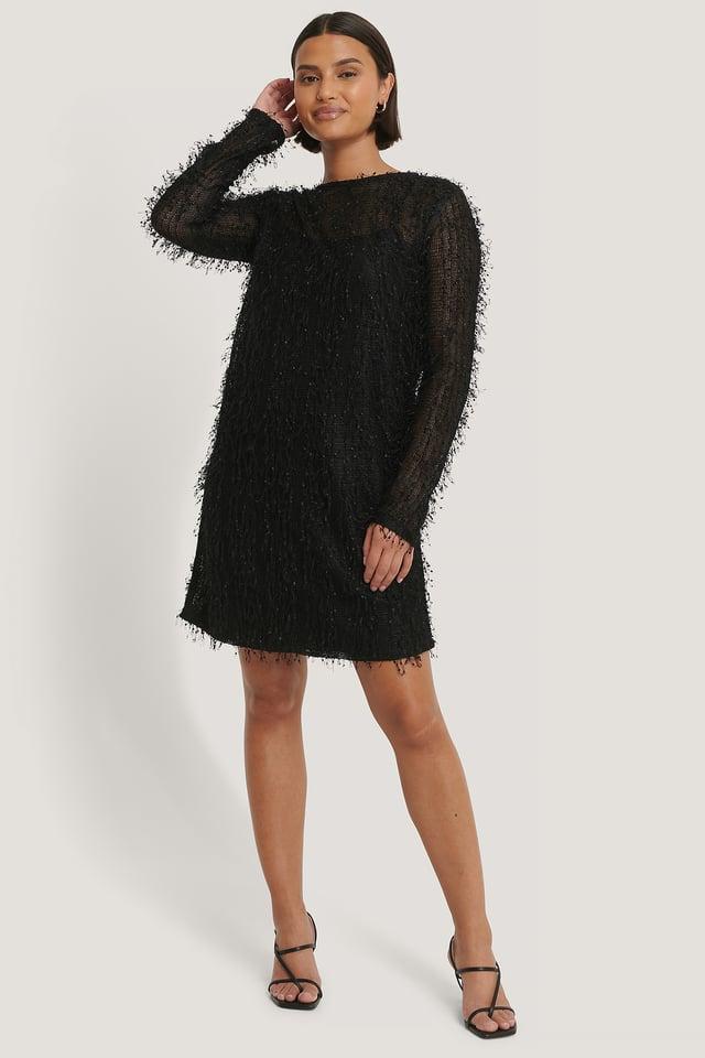 Net Detail Dress Black