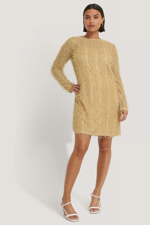 Net Detail Dress Beige