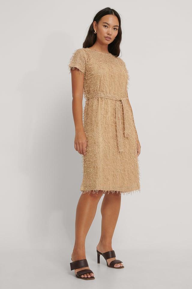 Netz-Detail Midi-Kleid Beige