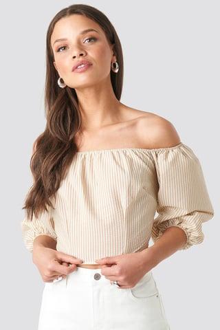 Beige/White Stripe Off Shoulder Crop Stripe Top