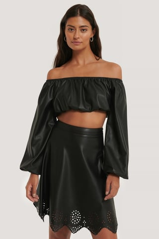 Black Kort Off-Shoulder-Top I Pu