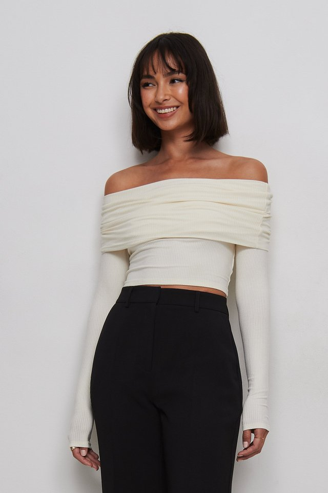 Offwhite Off Shoulder Cropped Top