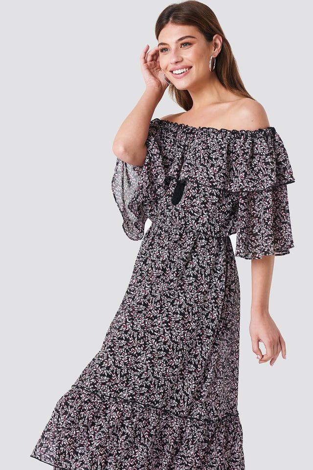 Off Shoulder Flounce Maxi Dress Black/Pink Leaves