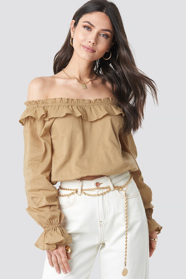 Off Shoulder Frill Crop Blouse Dark Beige