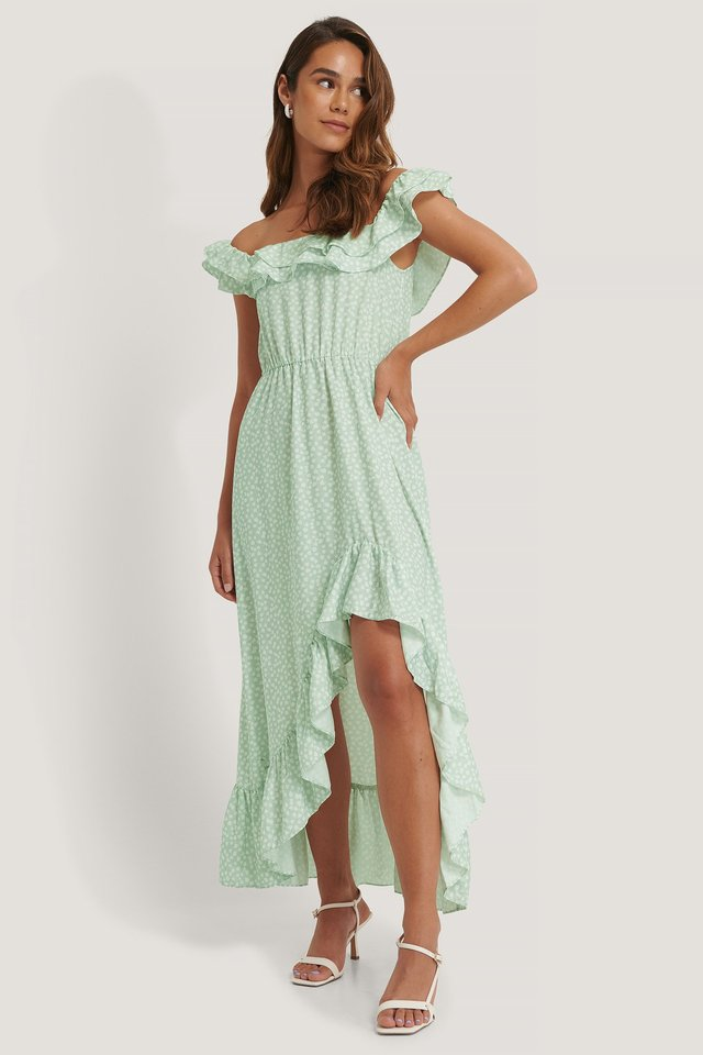 Off Shoulder Frill Detail Dress Green Print