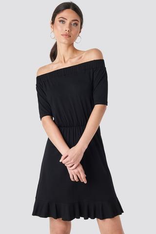 Black Off Shoulder Jersey Dress