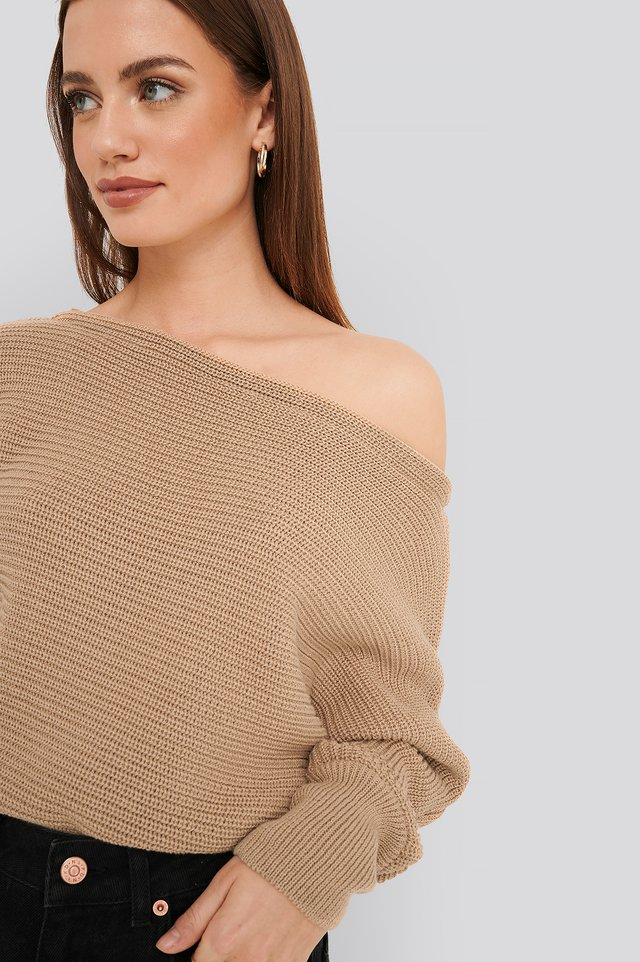 Off Shoulder Knitted Sweater Beige