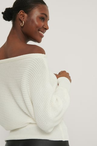 Offwhite Off Shoulder Knitted Sweater