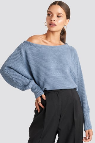 Stone Blue Off Shoulder Knitted Sweater