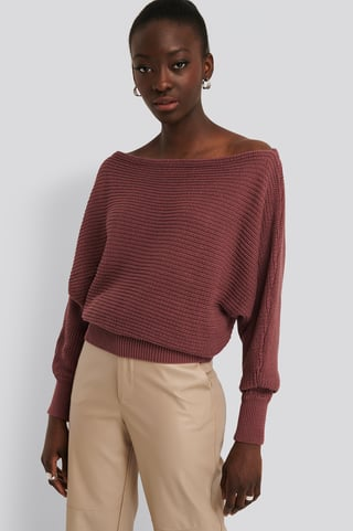 Purple Rose Off Shoulder Knitted Sweater