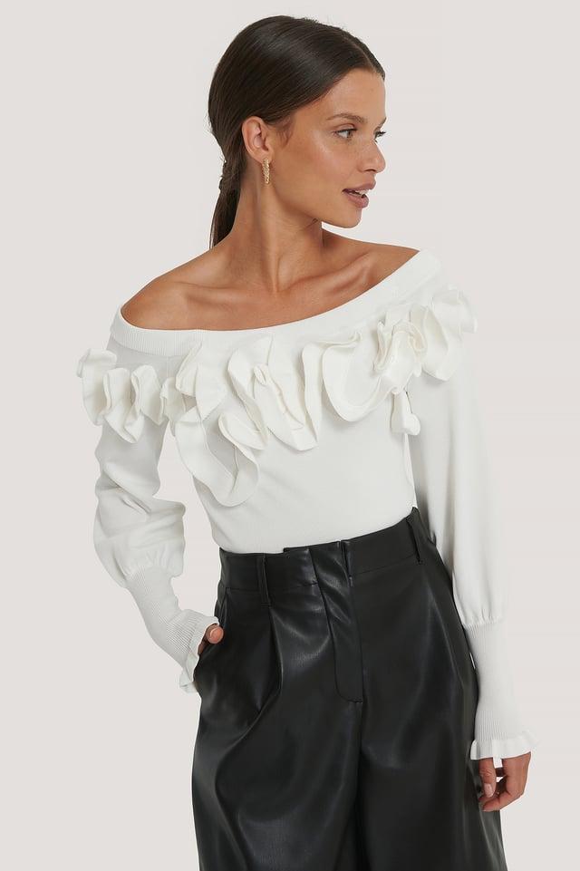 Strikket Off Shoulder-Topp White