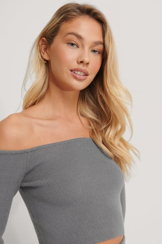 Grey Off Shoulder Knitted Top