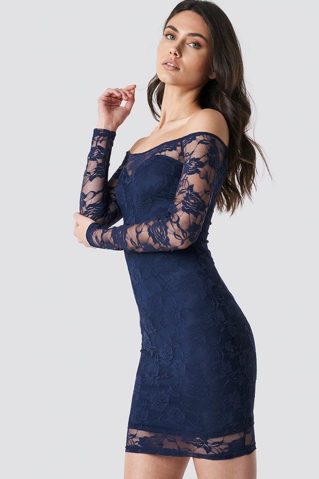 Off Shoulder Lace Dress Dark Blue
