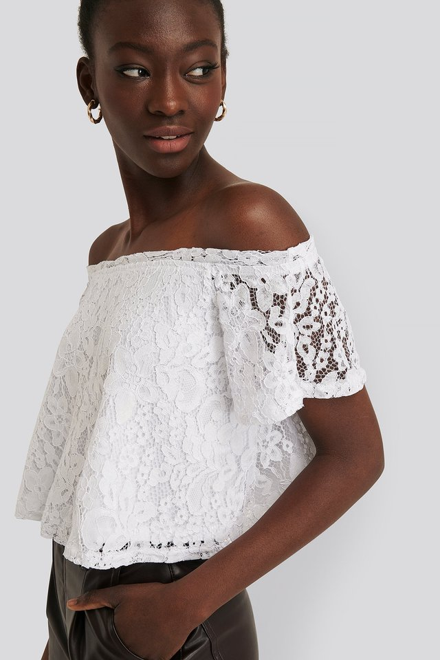 Off Shoulder Lace Top White