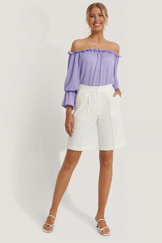 Lilac Off Shoulder-Top Med Bølget Hem