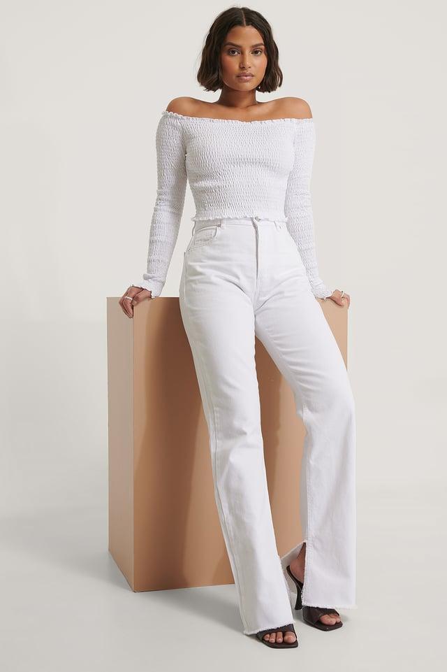 White Off Shoulder Long Sleeve Smock Top