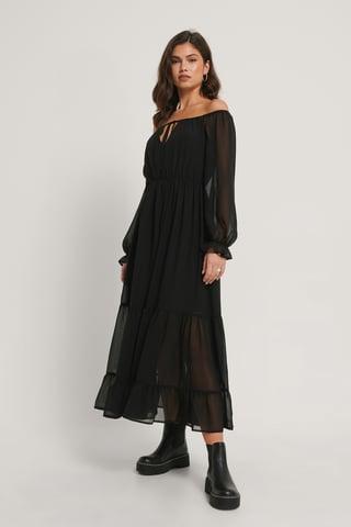 Black Off Shoulder LS Chiffon Dress