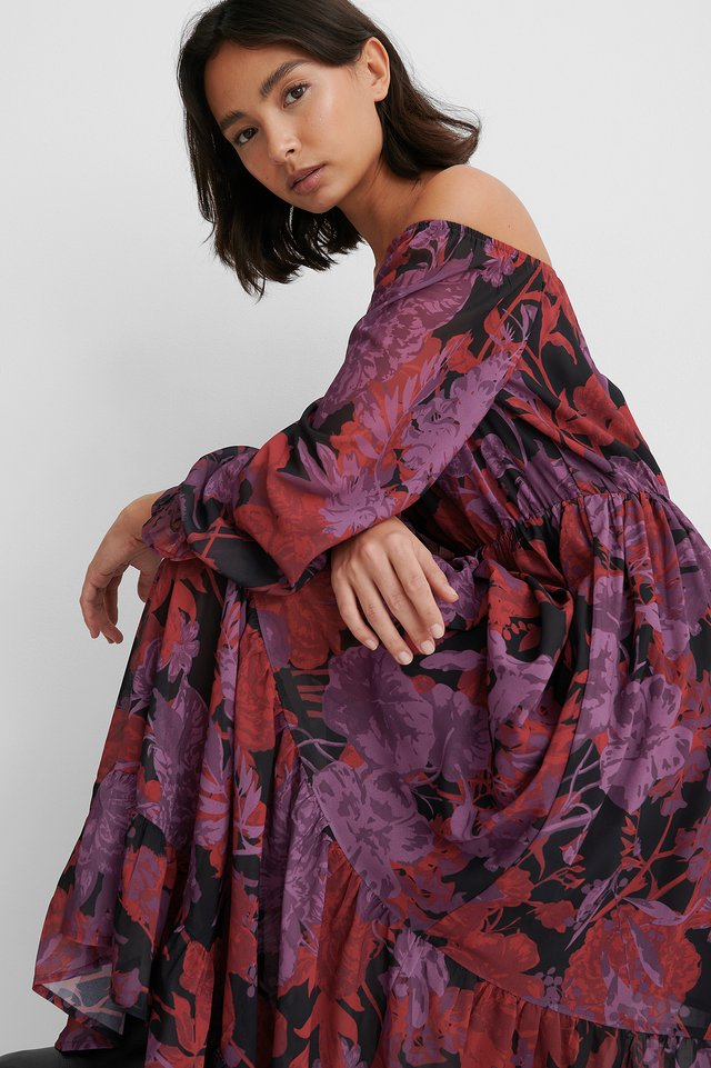 Red Flower Off Shoulder-Kjole