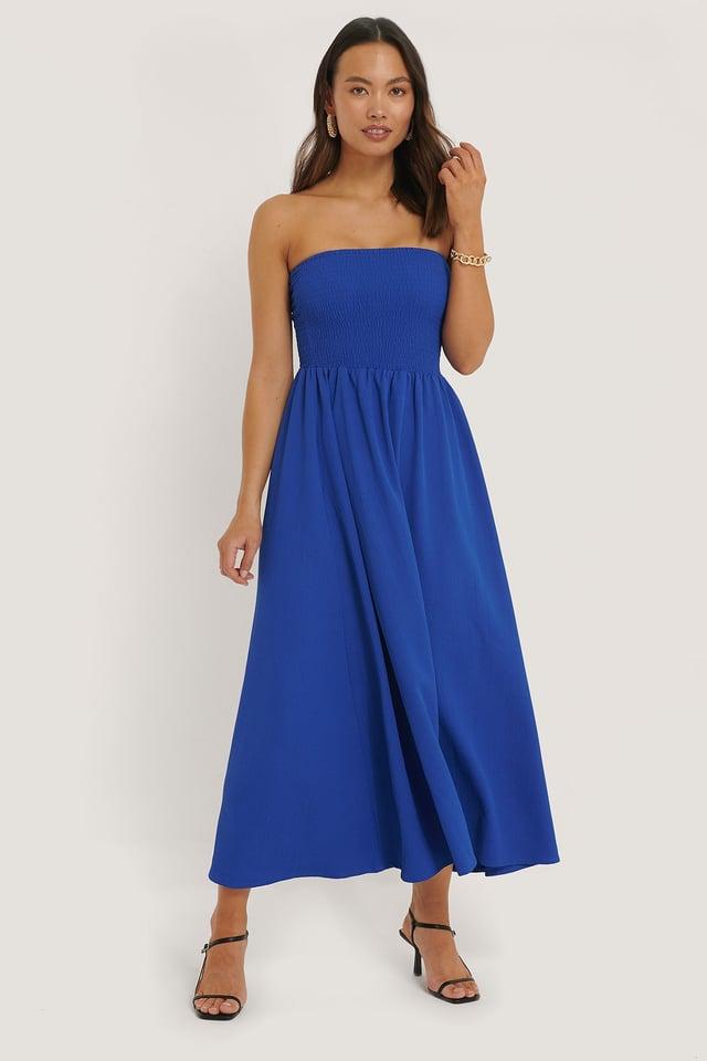 Off Shoulder Midi Dress Blue