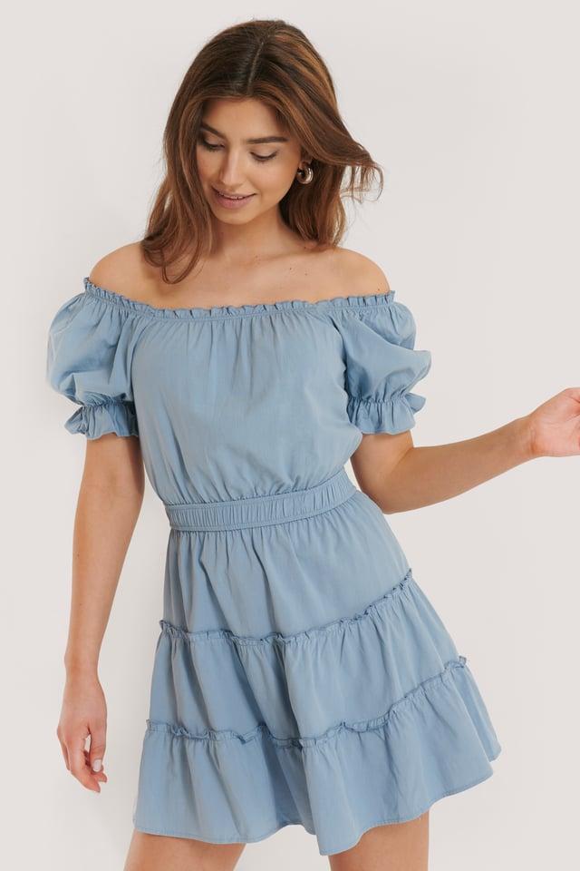 Off Shoulder Mini Dress Blue