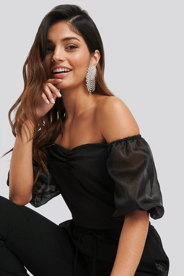 Off Shoulder Organza Sleeve Top Black