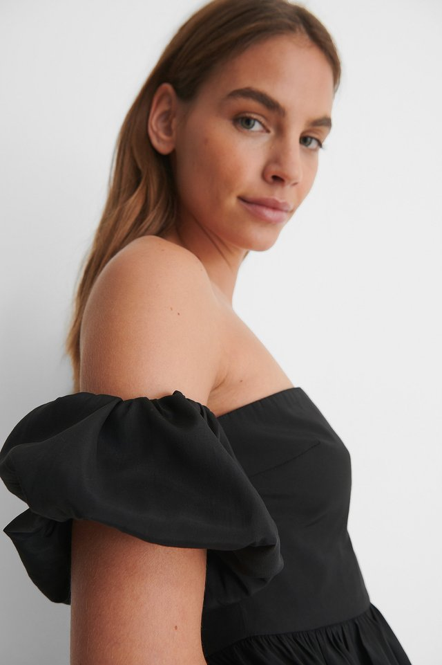 Black Off Shoulder Puff Short Sleeve Top