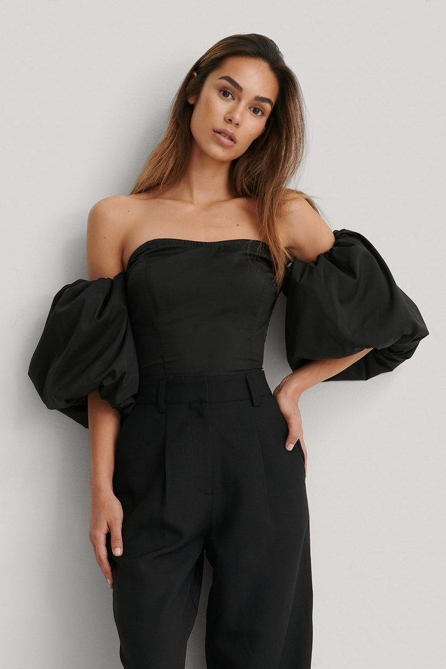 Off Shoulder Puff Sleeve Blouse Black