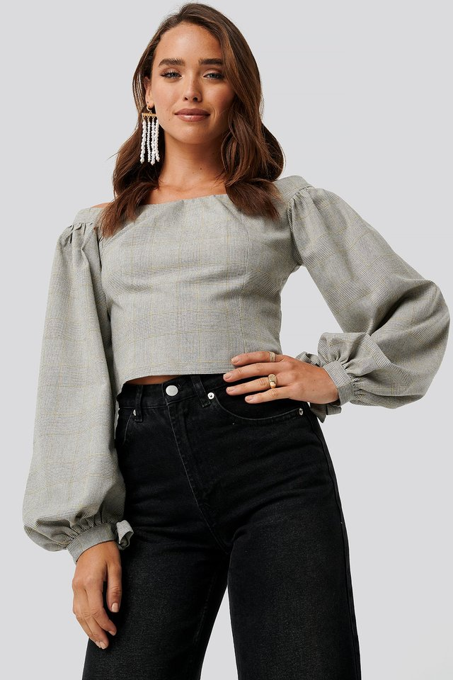 Grey Check Off Shoulder Puff Sleeve Checked Top