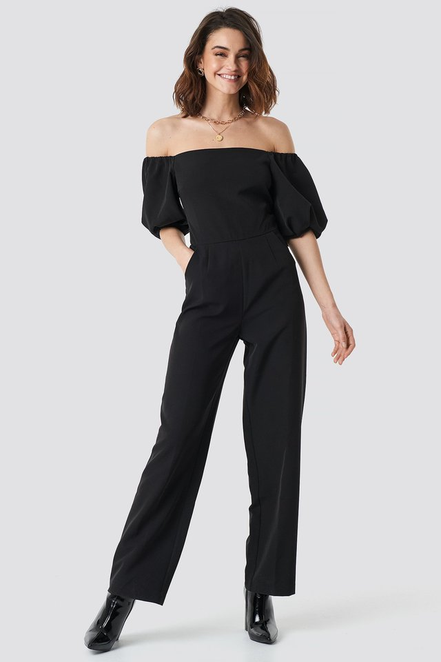 Off Shoulder Puff Sleeve Jumpsuit Black