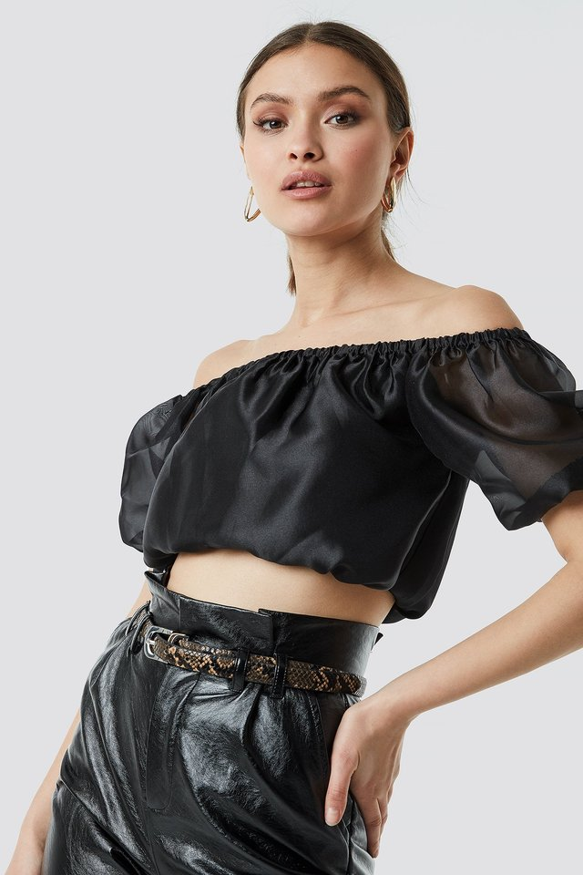 Off Shoulder Puff Sleeve Top Black
