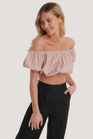 Pink Schulterfreies Gepufftes Top