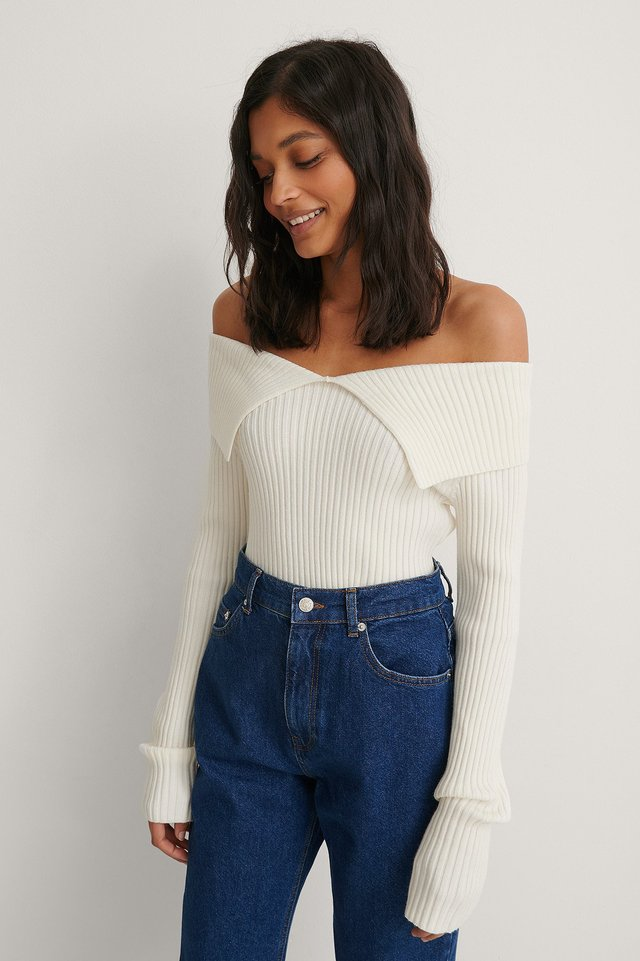 Offwhite Off Shoulder Ribbed Knitted Sweater