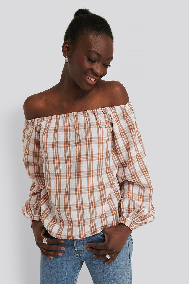 Off Shoulder Structure Check Blouse Pink/White