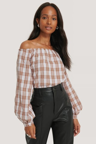 Pink/White Off Shoulder Structure Check Blouse